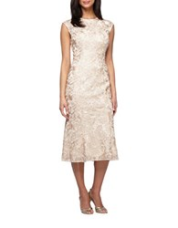 Alex Evenings Plus Illusion Accented Cap Sleeve Dress Champagne