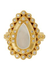 Freida Rothman 14K Gold Plated Sterling Silver Cz Mother Of Pearl Framed Ring Size 7 Metallic
