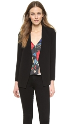 Alice Olivia Caddy Long Collarless Blazer Black