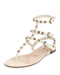 Valentino Rockstud Flat Leather Thong Sandal Light Ivory