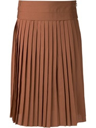 Derek Lam Pleated Midi Skirt Brown