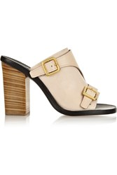 Chloe Buckled Leather Mules Nude