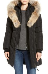 Mackage Women's Down Puffer With Coyote Fur Trim Black