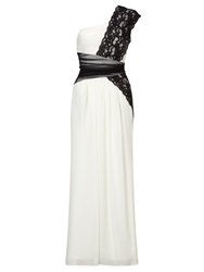 Ariella Black White Lace And Chiffon Long Dress Black White
