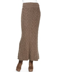 Ralph Lauren Collection Long Cable Knit Cashmere Skirt Truffle Melange