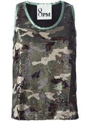 8Pm Sequined Camouflage Tank Top Black