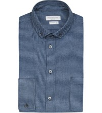 Richard James Puppytooth Cotton Flannel Shirt Blue