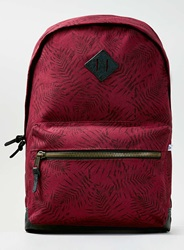 Topman Burgundy Leaf Rucksack Red