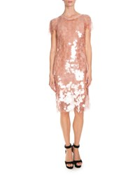 Givenchy Sequined Short Sleeve Cocktail Dress Light Pink
