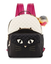 Betsey Johnson Cat Faux Leather Quilted Backpack Bone Black