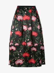 Erdem Imari Floral Print Silk A Line Skirt Green Multi Coloured Black