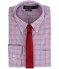 Lauren Ralph Lauren Check Classic Button Down Shirt White Pink Red Men's Long Sleeve Button Up