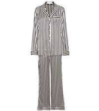 Olivia Von Halle Lila Nika Striped Silk Satin Pyjamas Black