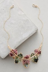 Anthropologie Cascades Bib Necklace Green Motif