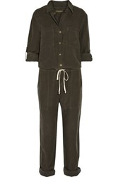 Enza Costa Twill Jumpsuit Army Green