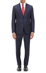 Barneys New York Fine Striped Two Button Suit Blue Size 40 Regular