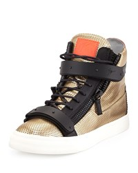 Men's Metallic Leather Mesh High Top Sneaker Gold Giuseppe Zanotti