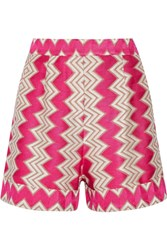 Missoni Crochet Knit Shorts Fuchsia