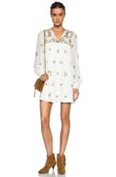 Saint Laurent Embroidered Silk Georgette Peasant Dress In White Floral