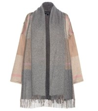 Salvatore Ferragamo Plaid Cashmere Cape Grey