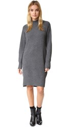 Dkny Cashmere Sweater Dress With Side Slits Charcoal Heather