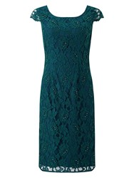 Jacques Vert Beaded Lace Dress Green