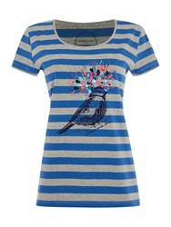 Dickins And Jones Bird Placement Print Top Blue