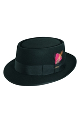 Scala Wool Felt Porkpie Hat Black Red