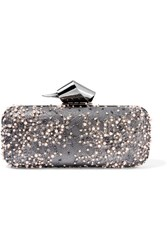 Jimmy Choo Cloud Embellished Lace And Gunmetal Tone Clutch Silver