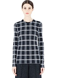 Proenza Schouler Plaid Long Sleeved Sweater Black