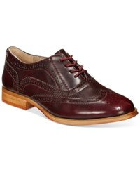 Wanted Babe Lace Up Oxfords Women's Shoes Burgundy