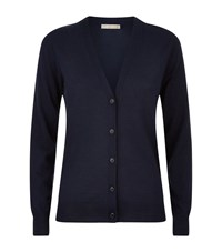 Burberry Check Detail Merino Wool Cardigan Female Navy