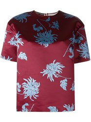 Rochas Shortsleeved Floral Top Red