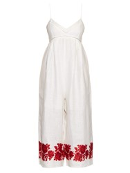Zimmermann Roza Embroidered Linen Jumpsuit White Multi
