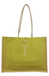 Cathy's Concepts 'Newport' Personalized Jute Tote Green Green T