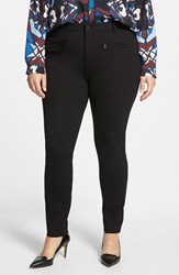 Plus Size Women's Nydj 'Ski' Zip Pocket Ponte Knit Skinny Pants Black