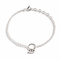 Agnes De Verneuil Silver Bracelet With Small Bells Nude Neutrals Grey