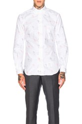Thom Browne Hector Embroidery Oxford Shirt In Animal Print White Animal Print White