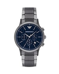 Emporio Armani Chevron Link Bracelet Watch 43Mm Blue