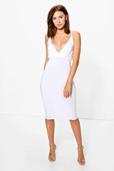 Boohoo Jade Wrap Slinky Midi Bodycon Dress Ivory