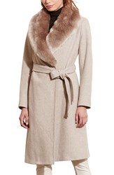 Lauren Ralph Lauren Women's Faux Fur Collar Wool Blend Long Wrap Coat