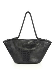 The Row Embossed Leather Market Tote Black