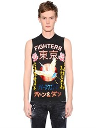 Dsquared Fighters Print Jersey Sleeveless T Shirt