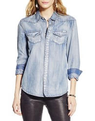 Jessica Simpson Chambray Button Front Shirt Blue