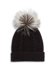 Saks Fifth Avenue Cashmere And Fox Fur Pom Pom Hat Black Grey