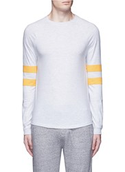 Topman Stripe Long Raglan Sleeve T Shirt Grey