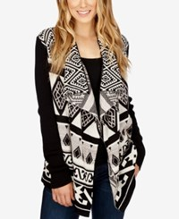 Lucky Brand Printed Open Front Cardigan Black Multi