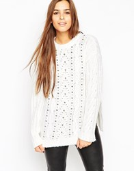 Asos Oversized Cable Jumper With Stud Detail Cream