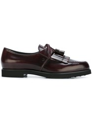Tod's Laced Tassel Loafers Red