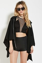 Forever 21 Zip Front Poncho Hoodie Black